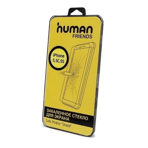 Стекло защитное для iPhone 5 5s 5c (на переднюю панель) Human Friends Safe Mobile Shield 5 - фото 10055