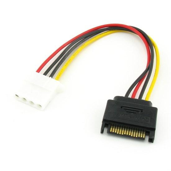 Переходник питания SATA 15-pin (m) -> Molex 4-pin (f) - фото 10548