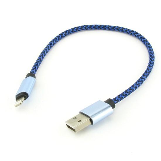 Кабель USB A --> Lightning 8pin (m) 0.25м для Apple, MFI 2.4A, черно-синий, Kaluos - фото 10551