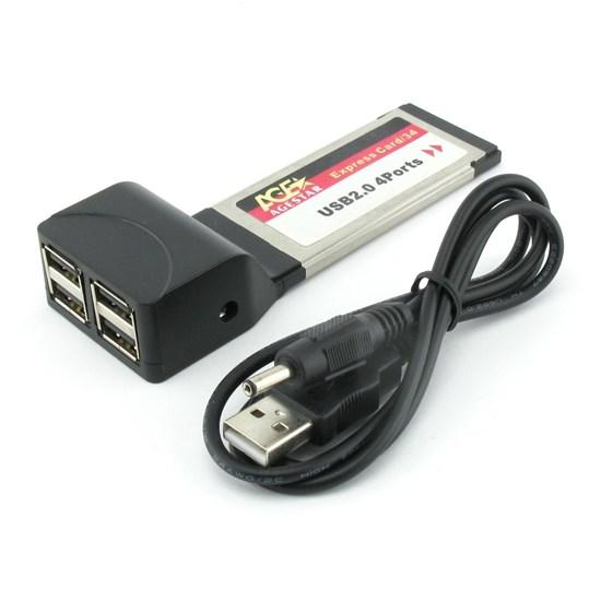 Адаптер ExpressCard/34mm --> USB2.0 (4 port) Agestar (ecu24) - фото 10695