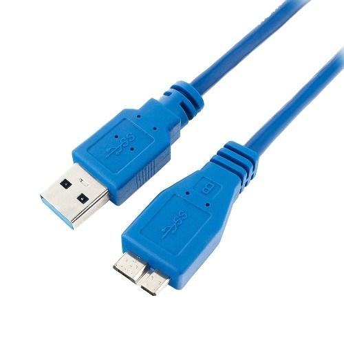 Кабель USB A --> Micro USB 9P (B) 0.3м (USB 3.0) синий - фото 10810