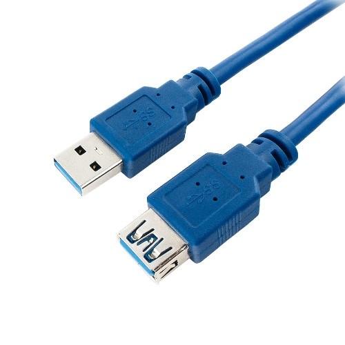 Удлинитель USB Am-Af 1.8м (USB 3.0) Pro, позол.конт., синий - фото 10813