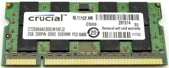 SO-DIMM DDR2 2GB PC2-6400 DDR2-800 Crucial (CT25664AC800) - фото 11048