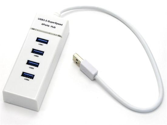 USB 3.0 Hub 4 port пассивный, LED, белый (303) - фото 11071
