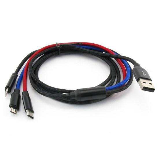 Кабель для зарядки USB A(m) -> micro-USB, 8pin Lightning, Type-C Baseus, 1.2м, цветной, нейлон - фото 11348
