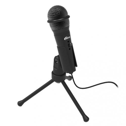 Микрофон Ritmix RDM-120 на штативе-подставке, черный, 50-16000Гц, -30±3 дБ/1кГц, кабель 1.8м - фото 11558