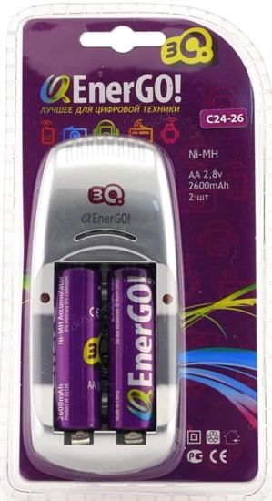 """Зарядное устройство 3Q Q-EnerGO! C24-26 для AA/AAA/6F22(""""Крона"""") + 2аккум. AA2600mAh - фото 11843"""