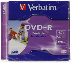 DVD+R 4.7GB Verbatim 16x Printable, jewel (43507) - фото 11870