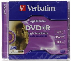 DVD+R 4.7GB Verbatim 16x, LightScribe, jewel (43574) - фото 11871