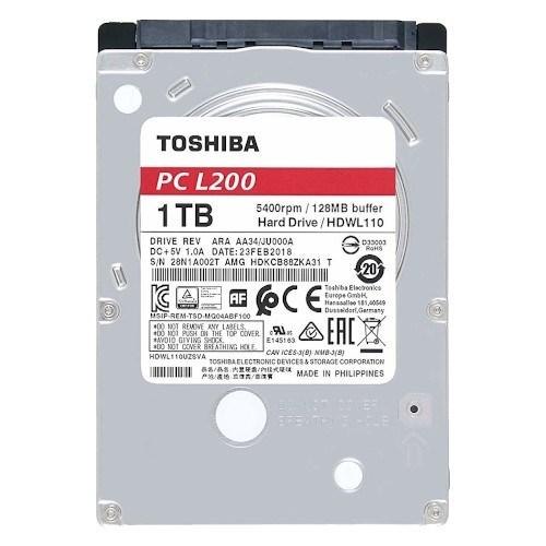 """2.5"""" SATA 1 ТB Toshiba L200 (HDWL110UZSVA), SATA-3 6Gb/s, 5400rpm, 128MB, 7мм - фото 11963"""