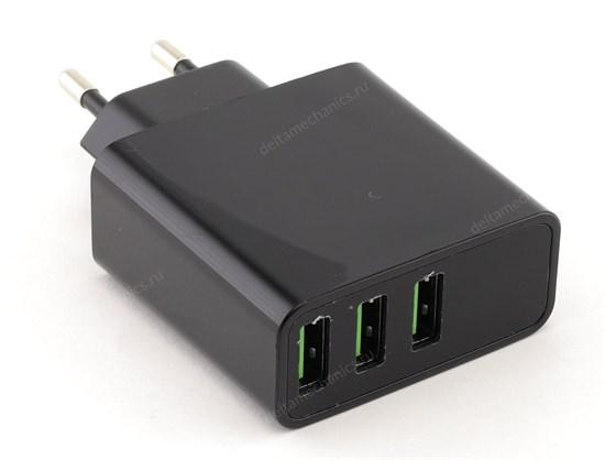 Зарядное устройство 220V -> USB 5V HKL-USB32 (3xUSB, 3000mA, черное, LED индикатор напряжения, силы тока) - фото 12089
