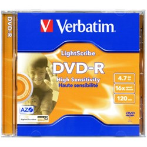 DVD-R 4.7GB Verbatim 16x, LightScribe, jewel (43620) - фото 12359