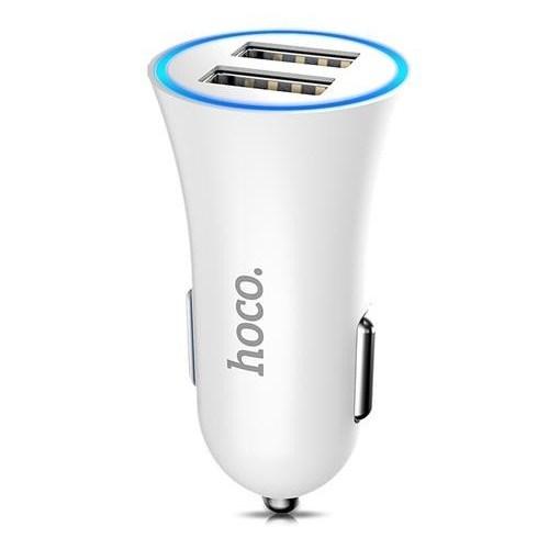 Зарядное устройство а/м 12V -> Lightning для Apple, 2.4A Hoco UC204, белое - фото 12374