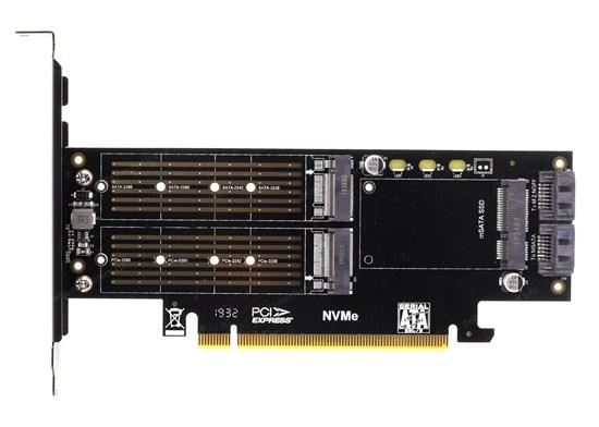 Адаптер в слот PCIe x16 (M.2 2280 PCIe SSD -> PCIe x4 / M.2 2280 SATA SSD -> SATA / mSATA SSD -> SATA) - фото 13121