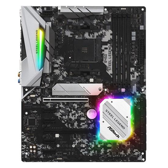 Socket AM4 ASRock B450 STEEL LEGEND (AMD B450, 4xDDR4, 6xSATA-3 6Gb/s, 7USB 3.1, HDMI/DP, GLAN, 1xARGB, 1xRGB, ATX) - фото 13364