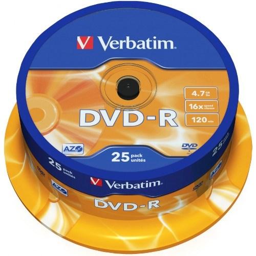 DVD-R 4.7GB Verbatim 16x (упаковка 25шт. на шпинделе) (43522) - фото 13696
