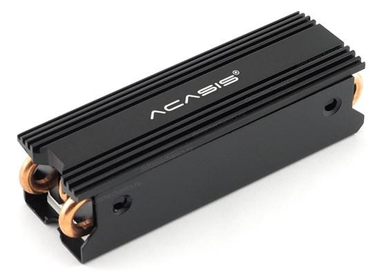 Радиатор для M.2 2280 SSD ACASIS SSD-P2A (Al+Cu, heatpipes, черный, 110г) - фото 13840