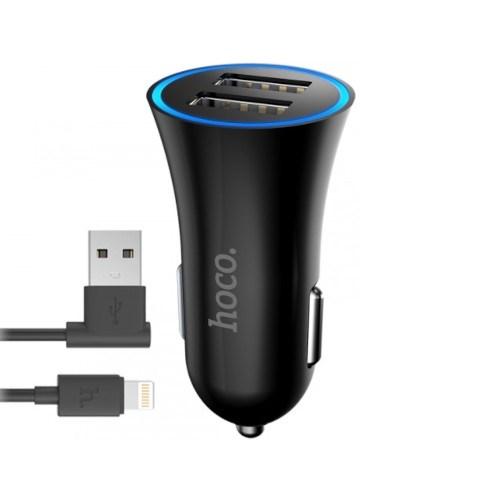 Зарядное устройство а/м 12V -> USB 5V 2 выхода + кабель Lightning для Apple, 2.4A Hoco UC204, черное - фото 14069