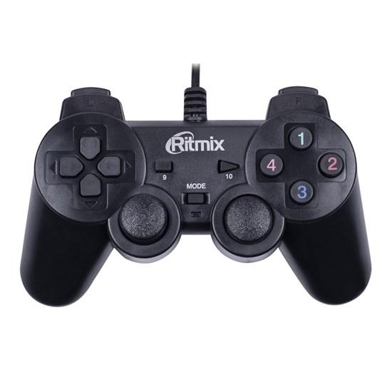 Геймпад RITMIX GP-004 Black (USB, 16кн., виброотдача, кабель 1.5м) - фото 14421