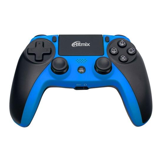 Геймпад RITMIX GP-063BTH Black-Blue (Bluetooth 2.1, сенсорная панель, гироскоп, 17кн., 600mAh, Win/iOS 13+/Android 5+/PS3/PS4) - фото 14427
