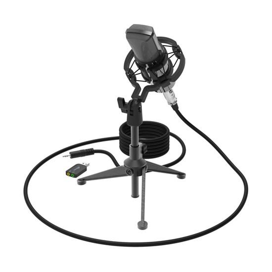 Микрофон Ritmix RDM-160 Black на штативе-подставке,  20-20000Гц, -34±2 дБ, кабель 2.5м, 3.5мм jack + USB адаптер - фото 14438