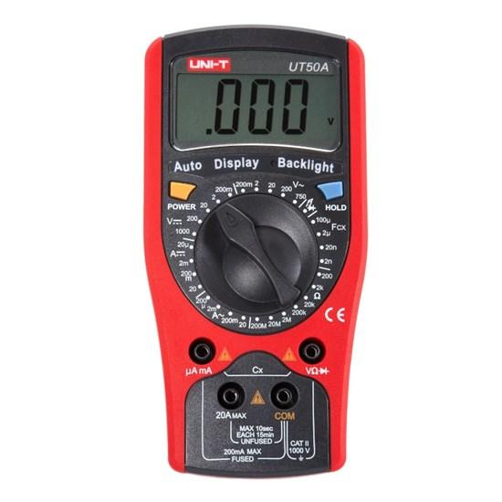 Мультиметр UNI-T UT50A (1999, 750В/1000В, 20А, 200Ом-2МОм, авто-подсветка, 1x6F22) - фото 14954