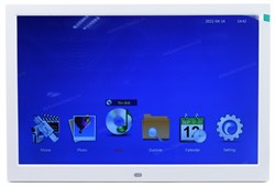 "Цифровая фоторамка TFT 15.2"" белая, wide (LED, 1280*800, MP3/MP4/APE/FLAC, SD, USB-host, динамик, ПДУ, VESA 75x75) - фото 15241"