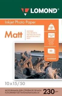 Бумага Lomond A6 10х15 см, Матовая 230г/м2 50л (0102034) - фото 5892