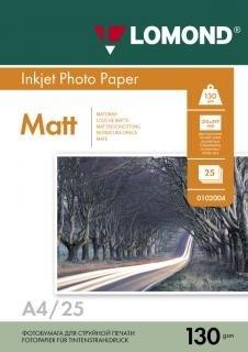 Бумага Lomond A4 Матовая двухсторонняя 130г/м2 25л (0102039) - фото 5919