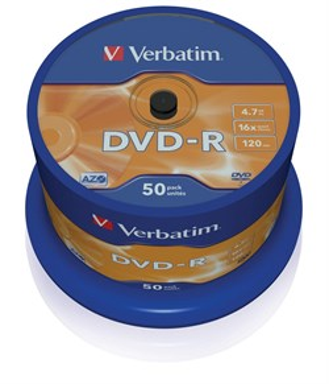 DVD-R 4.7GB Verbatim 16x (упаковка 50шт. на шпинделе) (43548) - фото 5936