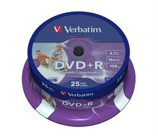 DVD+R 4.7GB Verbatim 16x (упаковка 25шт. на шпинделе), printable (43539) - фото 5944