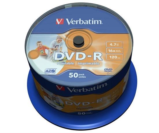 DVD-R 4.7GB Verbatim 16x (упаковка 50шт. на шпинделе), printable (43533) - фото 5956
