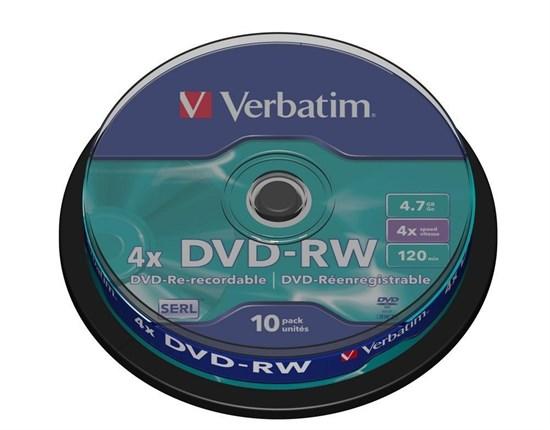 DVD-RW 4.7GB Verbatim 4x (упаковка 10шт. на шпинделе) (43552) - фото 5958