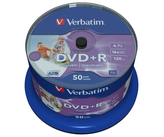 DVD+R 4.7GB Verbatim 16x (упаковка 50шт. на шпинделе), printable (43512) - фото 5965