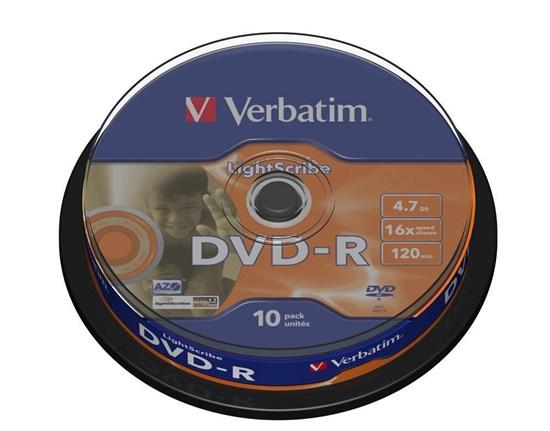 DVD-R 4.7GB Verbatim 16x, LightScribe (упаковка 10шт. на шпинделе) (43643) - фото 6013