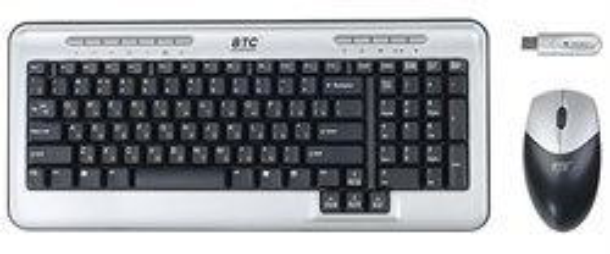 Клавиатура+мышь BTC 5545URF Silver-Black, Cordless Optical, USB - фото 6016
