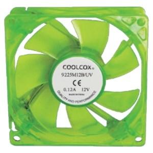Вентилятор Coolcox 90x90x25мм GREEN LED, питание от блока питания, на подшипнике - фото 6042