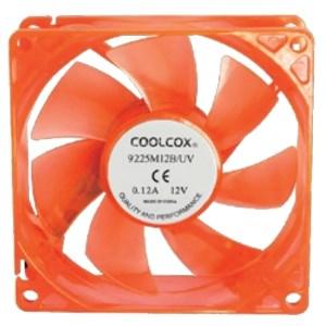 Вентилятор Coolcox 90x90x25мм Yellow LED, питание от блока питания, на подшипнике - фото 6043