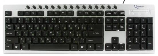 Клавиатура Gembird KB-8300UM-SB-R, серебр.-черная, 15 м/мед клавиш, USB - фото 6235