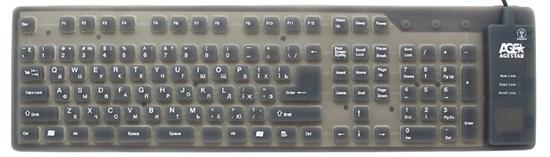 Клавиатура Agestar HSK810FA LED, гибкая, черная, подсветка, USB+PS/2 - фото 6284
