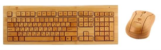 Клавиатура+мышь беспроводные Konoos KBKM-01, натуральный бамбук, USB - фото 6665