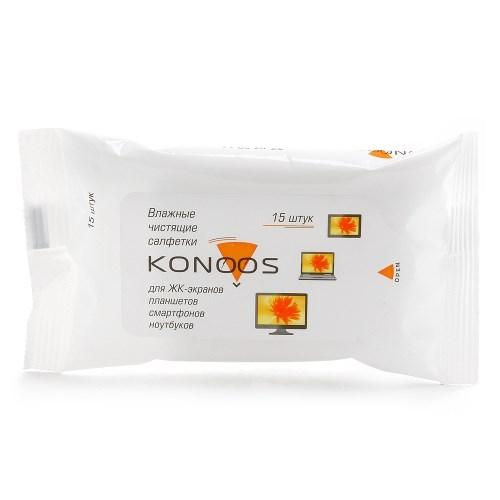 Чистящие влажные безворсовые салфетки Konoos, для ЖК-экранов (15 шт.) (KSN-15) - фото 6974