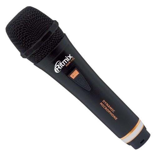 Микрофон динамический Ritmix RDM-131 чёрный, 600Ом, 80-15000Гц, -68±3 дБ/1кГц, кабель 3м jack 6.3 мм - фото 7154