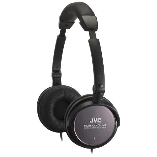Наушники JVC HA-NC80-E (оголовье, закрытые, чёрные, 10Гц-22кГц, 27/42Ом, 103/105 дБ/мВт, 3.5 мм, шнур 1.2 м, шумоподавл.) - фото 7768