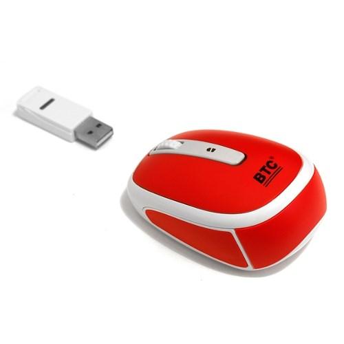 Мышь беспров. BTC M953UIII-Red, мини, 2.4ГГц, 10м, красная, USB - фото 8029