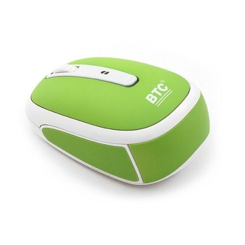 Мышь беспров. BTC M953ULIII-Apple, лазерная 1600dpi, мини, 10м, светло-зеленая, USB - фото 8049