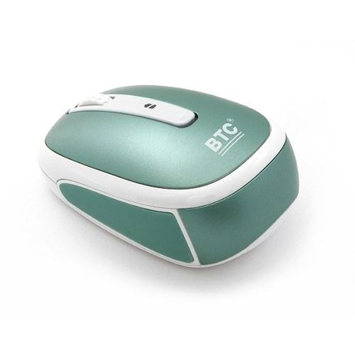 Мышь беспров. BTC M953ULIII-Pearl, лазерная 1600dpi, мини, 10м, темно-зеленая, USB - фото 8052