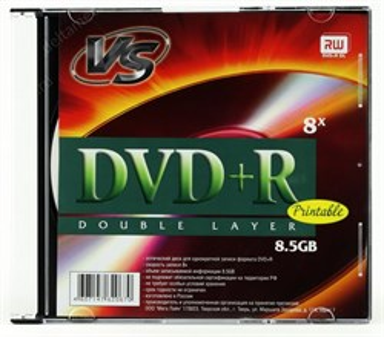 DVD+R 8.5GB (Double Layer) VS 8x, slim, Printable - фото 8205