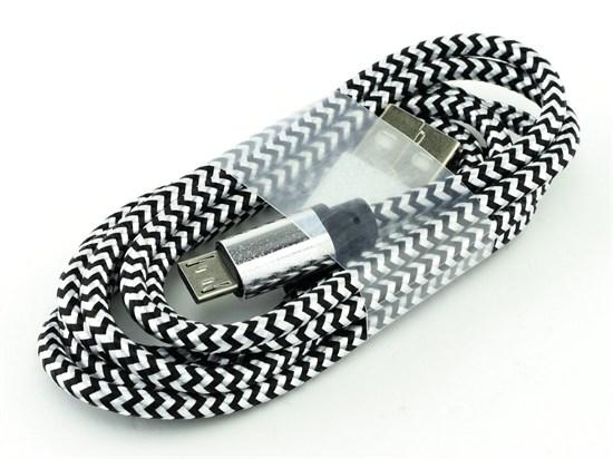 Кабель USB A --> Micro USB 5P (B) 1.2м хлопок, металл, белый SmartBuy iK12 met - фото 8218