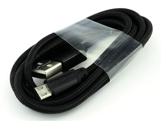 Кабель USB A --> Micro USB 5P (B) 1.2м хлопок, металл, черный SmartBuy iK12 met - фото 8219